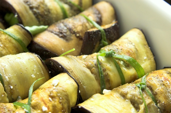 Eggplant, basil and feta rolls