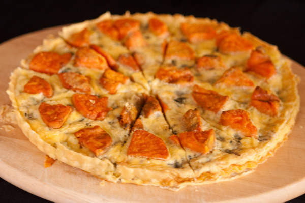 April made a nomalicious sweet potato and blue cheese tart.