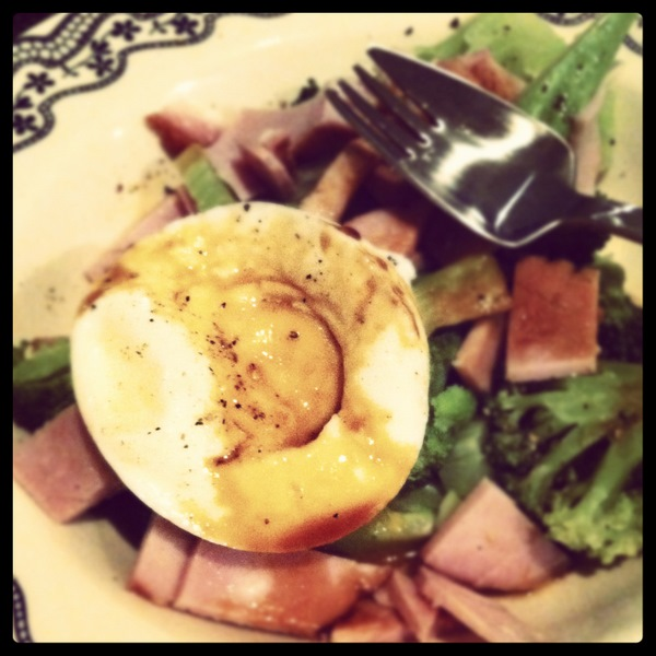 Ham, egg and broccoli