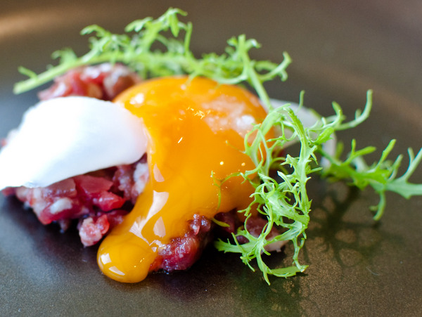 Welsh black beef, yolk, squid, beef fat, golden streak